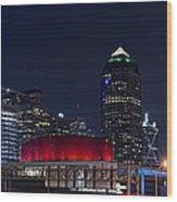 Dallas Skyline Arts District At Night Wood Print