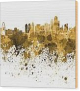 Dallas Skyline In Orange Watercolor On White Background Wood Print
