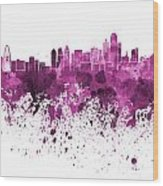 Dallas Skyline In Pink Watercolor On White Background Wood Print