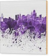 Dallas Skyline In Purple Watercolor On White Background Wood Print