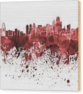 Dallas Skyline In Red Watercolor On White Background Wood Print