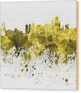 Dallas Skyline In Yellow Watercolor On White Background Wood Print