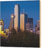 Dallas Skyline Wood Print by Inge Johnsson