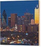 Dallas Skyline Panorama Wood Print