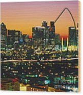 Dallas Texas Skyline In A High Heel Pump Wood Print