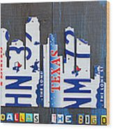 Dallas Texas Skyline License Plate Art By Design Turnpike Wood Print by Design Turnpike
