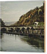 Dam On Adda River Wood Print