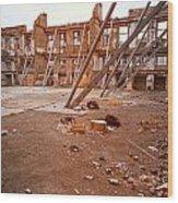 Damaged Building Wood Print
