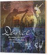 Dance Bright Colors Wood Print by Evie Cook
