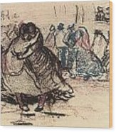 Dance Hall With Dancing Women Wood Print