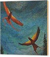 Dance Of The Firehawks Wood Print