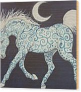 Dance Of The Moon Horse Wood Print