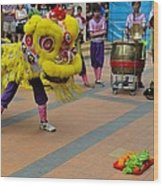Dance Troupe Performs Chinese Lion Dance Singapore Wood Print