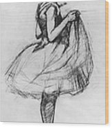 Dancer Adjusting Her Costume And Hitching Up Her Skirt Wood Print by Henri de Toulouse-Lautrec