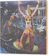 Dancer Laxmi Dancing On The Boat Wood Print