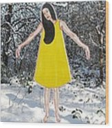Dancer In The Snow Wood Print