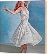 Dancer In White Wood Print