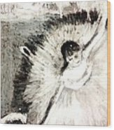 Dancer With A Bouquest Of Flowers By Edgard Degas Wood Print