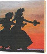 Dancers At Sunset Wood Print
