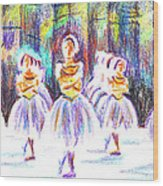 Dancers In The Forest II Wood Print