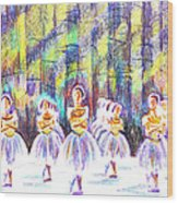 Dancers In The Forest Wood Print by Kip DeVore