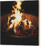 Dancing Amber Fire In Pit Wood Print