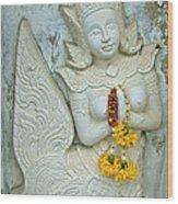 Dancing Aspara At Temple Of The Dawn/wat Arun In Bangkok-thailan Wood Print