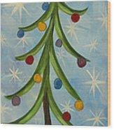 Dancing Christmas Tree Wood Print