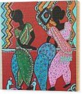 Dancing Girls - Folk Art  Wood Print