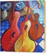 Dancing Guitars Wood Print