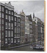 Dancing Houses Damrak Canal Amsterdam Wood Print