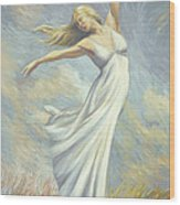 Dancing In Monet's Field Wood Print by Lucie Bilodeau