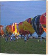Dancing In The Moonlight Hot Air Balloons Wood Print