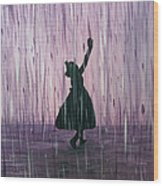 Dancing In The Rain Wood Print