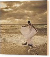 Dancing In The Surf 2 Wood Print
