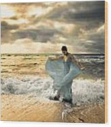 Dancing In The Surf Wood Print