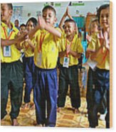 Dancing Kindergarten Students At Baan Konn Soong School In Sukhothai-thailand Wood Print