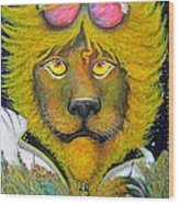 Dancing King Of The Serengeti Discotheque Wood Print