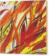 Dancing Lines Hot Abstract Wood Print