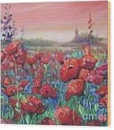 Dancing Poppies Wood Print by Andrei Attila Mezei