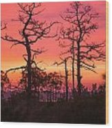Dancing Trees Into The Fire Wood Print