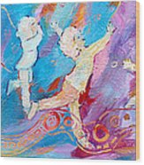 Dancing With Colour Wood Print