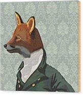 Dandy Fox Portrait Wood Print