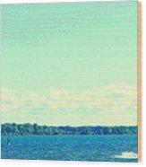 Dangerous Moonlight Red Crescent Kite Boarding Where Canal Meets Ocean Seascape Scene Carole Spandau Wood Print