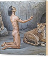 Daniel In The Lion's Den Wood Print