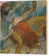 Danseuse A L'eventail Wood Print by Edgar Degas