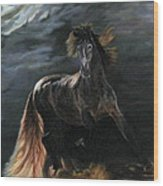 Dappled Horse In Stormy Light Wood Print