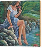 daragang magayon -beautiful lady in Mayon Wood Print