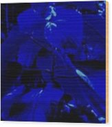 Dark Blue Leaves Wood Print