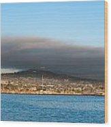 Dark Cloud Over Oceanfront Land Wood Print